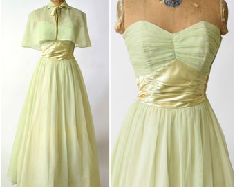 50s Fred Perlberg Pastel Green Sweetheart Bust Gown w Capelet // Pinup Perfection, Old Hollywood Glamour, VLV Formal Prom Dress
