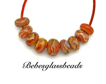 Boro Glass Beads Lampwork Carmel Swirls (9)