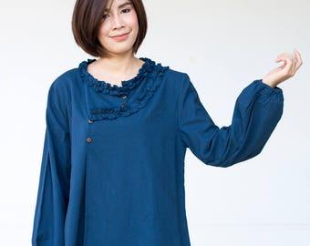 FREE SHIPPING--BN009-- Cotton blouse with cute ruffles