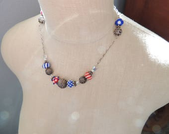 Red, White and Blue Artisan Lampwork Necklace with Sterling Silver