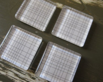 Gray Grid Lines on White - square glass magnets - set of 4