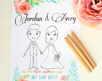 Kids Wedding Favor Wedding Favor for Kids Wedding coloring book Wedding coloring pages Wedding activity book Personalized coloring book