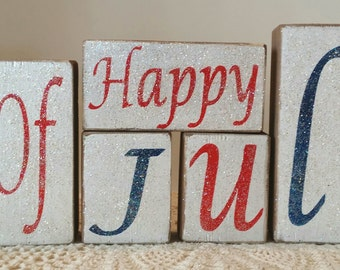 Happy 4th Of July Wood Americana Blocks Holiday Blocks Glitter Blocks