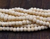 7mm Natural Bone Beads,   75pc Strand, Round Beads,  Cow Bone -BN82