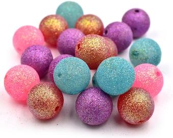 Large Glitter Acrylic  Beads, 24mm,  10pcs, Mixed Colors,  Focal Beads, Round Plastic Beads, Glitter Beads -C650