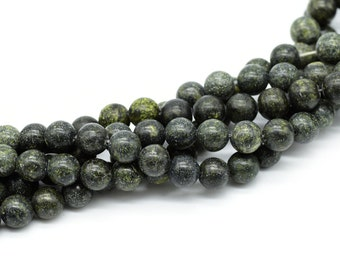 Green Lace Stone  Beads, 8mm,  Round Beads, 15 Inch Strand, 48pcs, 1mm Hole -C682