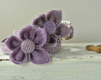 Dog collar flower corsage, Harris Tweed flower, Purple flower collar ornament