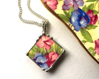 Vintage chintz china, porcelain pendant necklace,  antique Sweet Pea chintz, pink floral broken china jewelry - eco-friendly