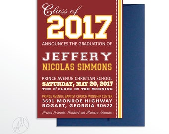 Class of 2017 Graduation Announcement Burgundy and Gold Graduation Celebration Party Invitation College Commencement Invite