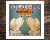 Doodle LABRADOODLE Coffee or Beer Brewing Personalized FREE -  Custom -  Double Dog GOLDENDOODLE Brewing Company print Signed