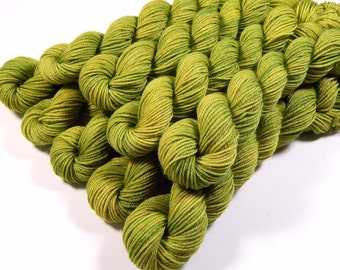 Sock Yarn Mini Skeins - Hand Dyed Yarn - Sock Weight 4 Ply Superwash Merino Wool Yarn - Lettuce Tonal - Green Fingering Yarn, DIY Gift