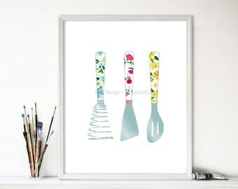 Kitchen art, kitchen Utensils art Print ,kitchen print, floral  print,  Retro  kitchen art, mothers day, hostess gift