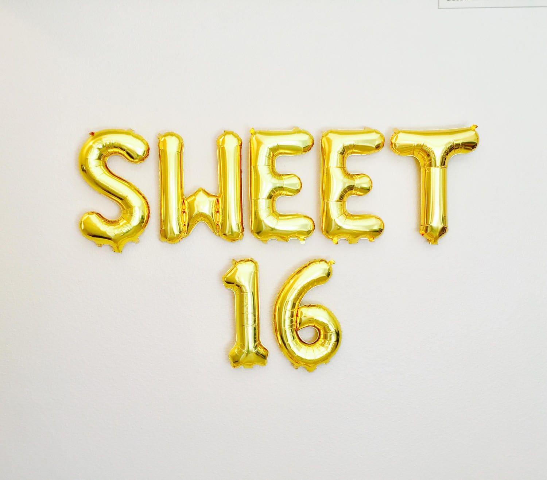 SWEET 16 Balloon Letter Banner Sweet 16 Balloon16th Birthday