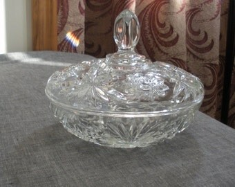 Vintage Early American Prescut Candy Dish with Lid - EAPC