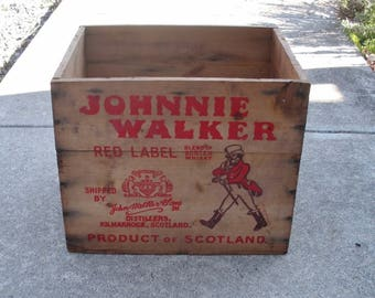 Vintage Johnny Walker Red Scotch Whiskey Wooden Box - Shipping Crate