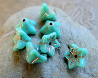NEW TURQUOISE Blossoms . Czech Metallic Glass Beads . 6 by 9 mm (12 beads)