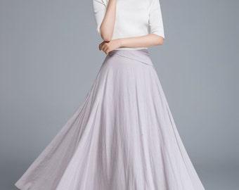 light grey skirt, long skirt, linen skirt, maxi skirt, fitted skirt, pleated skirt, high waisted skirt, A line skirt, boho skirt  1666