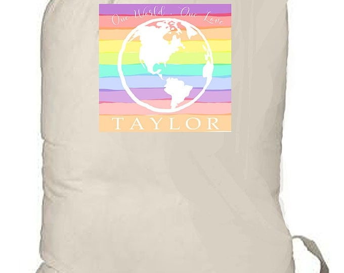 Laundry Bag for College, Personalized laundry totebag, Rainbow Globe, Summer Beach Bag, Camp Bag, Grad Gift, Birthday Gift, Travel Bag
