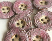 Reserved for Joni: Textured pink ceramic buttons