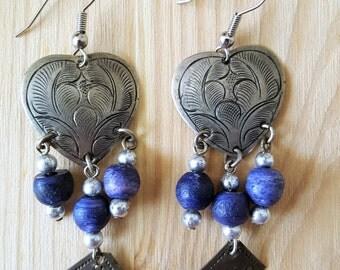 SUPER SALE... Lovely Etched Silver Lapis Blue Heart Long Dangling Earrings. Southwest Earrings. Lapis Heart Earrings. Long Danglers