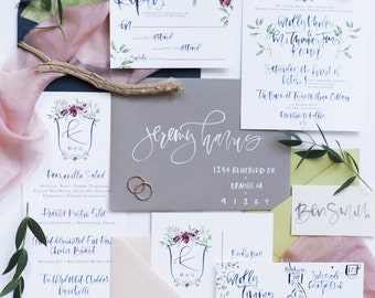 Navy Watercolor Calligraphy Wedding Invitation Suite with Custom Crest