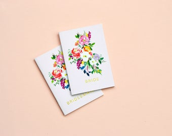 Watercolour foiled wedding notebook for bridal party