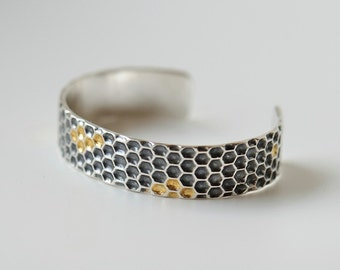 Honeycomb bracelet sterling silver with gold cells, honeycomb jewelry, beekeepers gift, small wrist cuff, high end jewelry