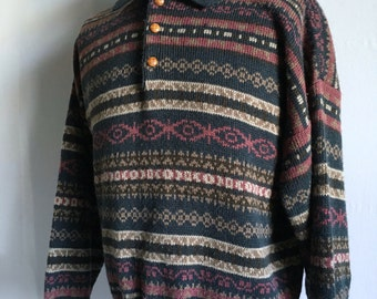 Vintage Men's 80's Geometric Sweater, Acrylic, Long Sleeve by Campus (XL)