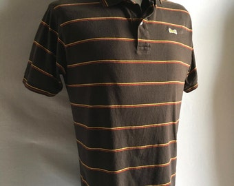 Vintage Men's 80's Le Tigre Polo Shirt, Brown Striped, Short Sleeve (M)