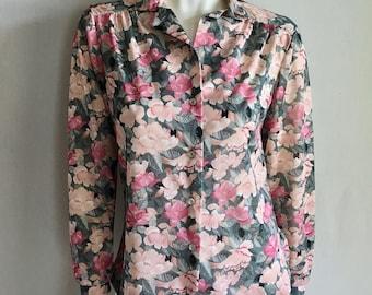 Vintage Women's 70's Floral Blouse, Long Sleeve, Button Down (M)