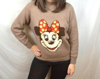 Vintage Disney Mickey Minnie Mouse Handmade Sweater