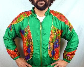 Vintage 90s Rainbow Green Jacket Windbreaker
