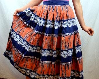Vintage 50s RARE Tribal Batik Tie Dye Skirt - Jack Schnittman Original
