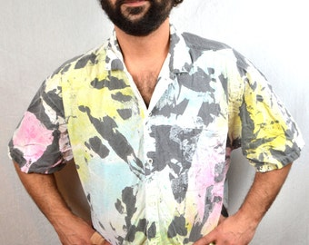 Rad Ocean Pacific OP Vintage 80s Rainbow Neon Button Up Hawaiian Style Shirt