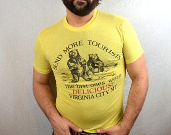 Vintage 80s Funny Yellow Bear Tshirt Tee Shirt - Send More Tourists - Virginia City, Montana