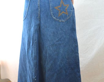 Vintage HASH Superstar Jean Denim 70s 80s Maxi Skirt