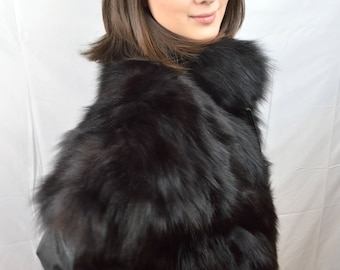 Vintage 80s 90s Black Fur and Leather Bomber Party Coat Jacket Vest - Removable Sleeves!