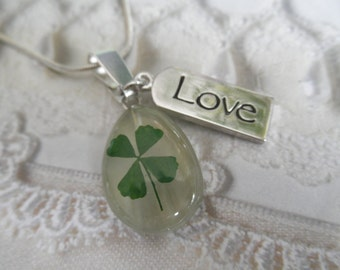 Real 4 Leaf Clover White Cat's Eye Teardrop Pendant w/Love Charm-Nature's Art-Symbolizes Luck, Love,Hope, Faith-Nature's Art-Gifts Under 30