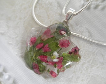 Pink Veronica, Pink Heather, Ferns, Queen Anne's Lace Glass Flower Shaped Pressed Flower Pendant-Nature's Art-Symbolizes Faithfulness,Peace