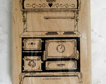 Stampin Up Wood Mounted Rubber Stamp Stove 1995