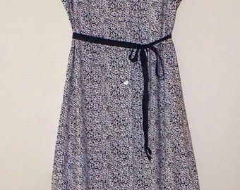 vintage 90s tiny floral print rayon button front maxi shirtdress