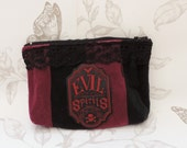 Gothic evil halloween pouch black velvet purse make up bag steampunk skull macabre apothecary label