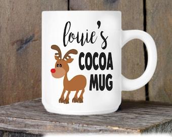 Reindeer Mug - Christmas Mug - Holiday Coffee Cup - Custom Coffee Cup - Novelty Ceramic Mug - Cocoa Mug - Christmas Gift Idea for Kids