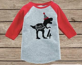 Dinosaur Birthday Shirt - Boys Fourth Birthday Dino Tshirt - Dino Four Birthday Shirt - Red Raglan Dinosaur 4th Birthday Tee - Fourasaurus