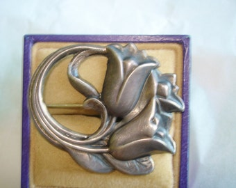 Signed Sterling  Flower Brooch
