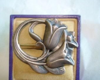 Signed Sterling  Flower Brooch
