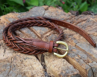 "Braided Leather Belt with Half Moon Buckle - 3/4"" wide"