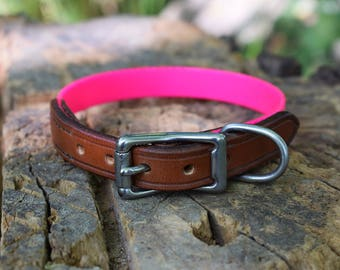 Pink Biothane & Leather Dog Collar - size S