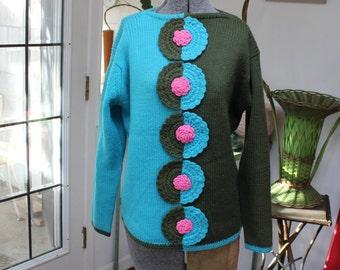 Wool Sweater Evan Picone 1960 Mod Flower Size 40 Designer VINTAGE by Plantdreaming