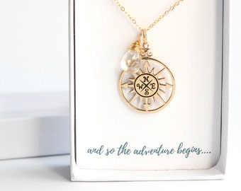 Personalized Graduation Gift for Her - Gold Compass Necklace - Traveler Gift - Wanderlust Necklace - World Traveler Necklace - Goodbye Gift